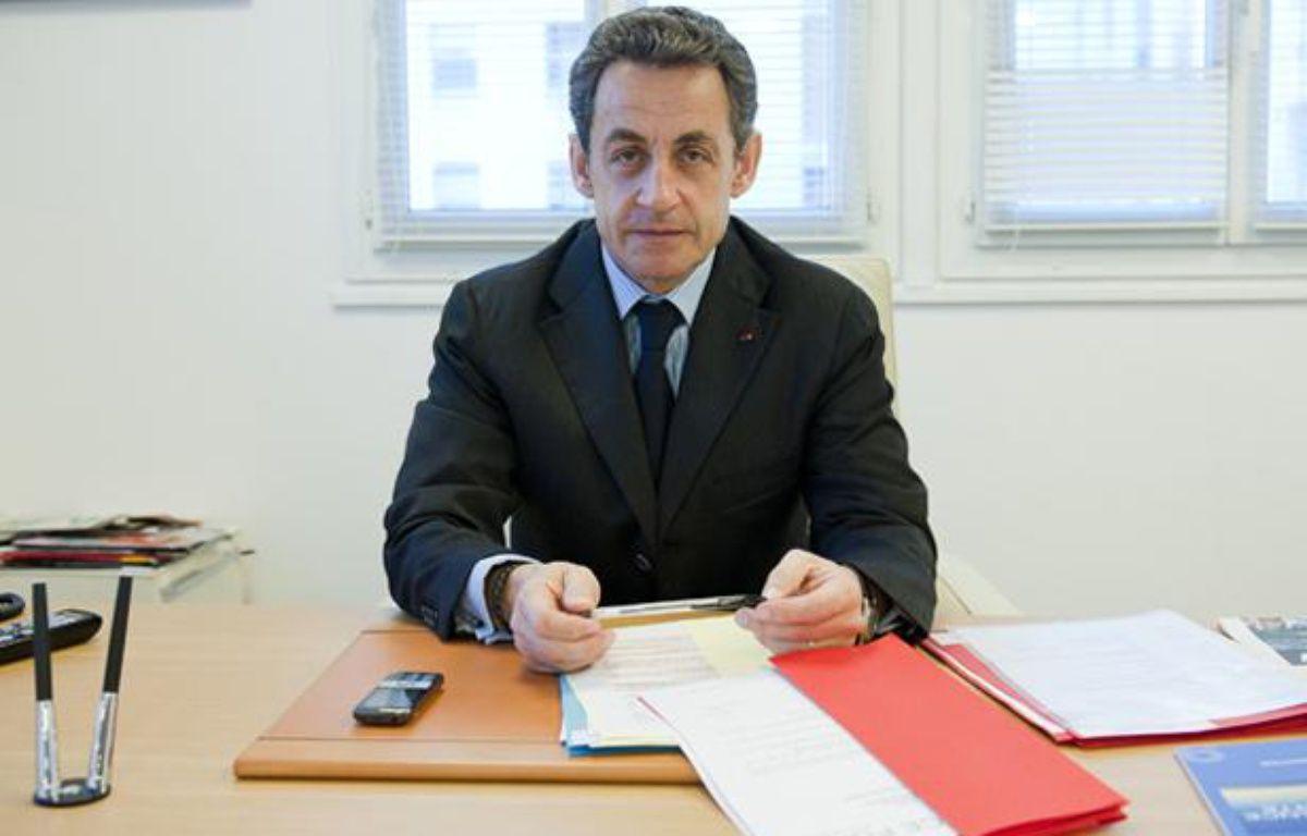 Le 12 avril 2012. Nicolas Sarkozy recoit 20 Minutes en itw dans son qg de campagne rue de la Convention a Paris – V. WARTNER / 20 MINUTES