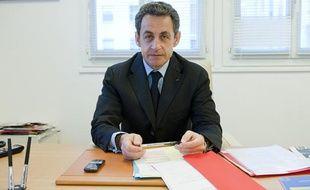 Le 12 avril 2012. Nicolas Sarkozy recoit 20 Minutes en itw dans son qg de campagne rue de la Convention a Paris