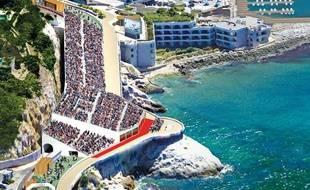 Les tribunes qui seront installées sur la Corniche à Marseille (si Paris décroche les JO 2024)