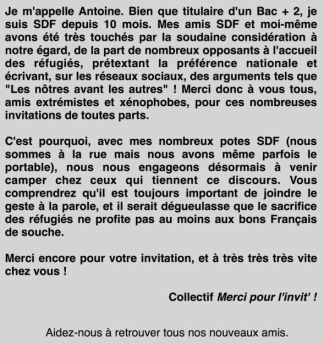 La lettre de Pascal qui avait fait le buzz, il y a un an.