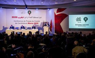 Conférence de presse du Maroc pour présenter sa candidature à l'organisation de la Coupe du monde 2026, le 23 janvier 2018 à Casablanca.