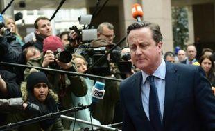 """Le Premier ministre britannique David Cameron arrive au sommet européen consacré à la question du """"Brexit"""" à Bruxelles, le 18 février 2016"""
