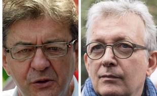 Collage SIPA 20 Minutes de Jean-Luc Mélenchon (France insoumise) et de Pierre Laurent (Parti communiste français)