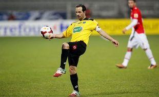 Ludovic Giuly sous le maillot de Chasselay, ici en Coupe de France, en janvier 2014 à Gerland face à l'AS Monaco.