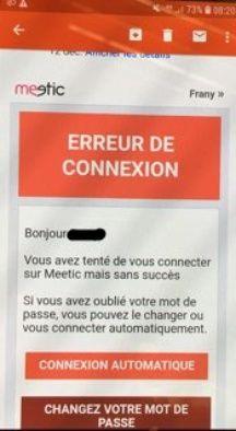 Une capture d'écran d'un message envoyé par le site de rencontres.