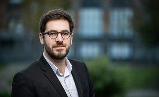 Julien Poix, une des deux têtes de liste de La France insoumise, lors des municipales 2020 à Lille.