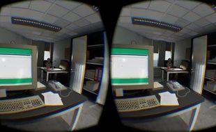 Capture d'écran de «[8:46]», qui recrée le 11-Septembre en réalité virtuelle.