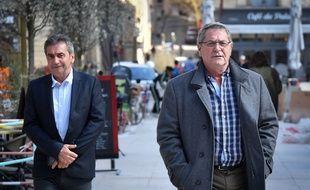 Bruno Odos et Pascal Fauret devant la cour d'assises d'Aix-en-Provence, le 19 mars 2019.