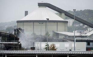 L'usine chimique Lubrizol de Rouen le 5 octobre 2019, soit dix jours après l'incendie.
