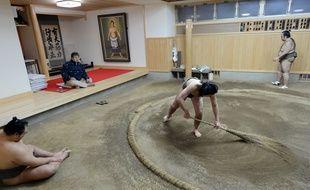 Un jeune lutteur de sumo balaie le dohyo lors d'un entraînement à la Otake-beya, en février 2013.
