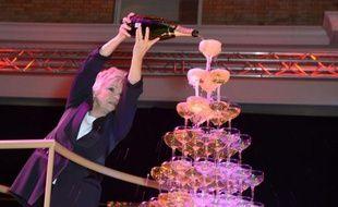 La fontaine de champagne des 16e  Moet British Independent Film Awards à Old Billinsgate Market, dimanche 8 décembre 2013, à Londres.