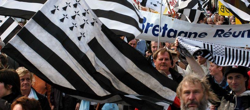 Manifestation pour la réunification de la Bretagne historique à Saint-Nazaire.