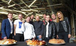 A Lille, le 16 septembre 2015 - L'equipe du collectif Mange Lille, composee de restaurateurs.