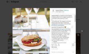 L'hôtel a publié une photo de son pan bagnat