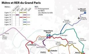 La carte des transports du Nouveau Grand Paris à l'horizon en 2030.