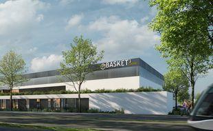 Le « Basket Center » vu depuis l'avenur de Colmar, où passe les lignes A et E du tram.