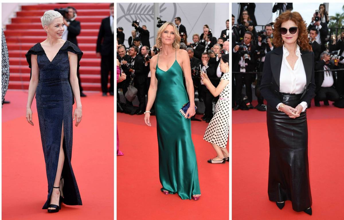 Michelle Williams en Vuitton,  Robin Wright  parée par Cartier et Susan Sarandon en Chanel.  – James Gourley/Shutterst/NIVIERE/VILLARD/SIPA