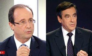 François Hollande, sur France 2, et François Fillon, sur TF1, le 7 novembre 2011.