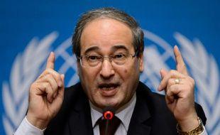 Le numéro deux de la diplomatie syrienne Fayssal Mekdad à Genève le 26 janvier 2014