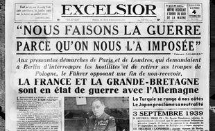 La une d'un des journaux de l'époque sur l'entrée en guerre de la France et de l'Angleterre contre l'Allemagne en septembre 1939.