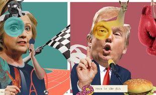 Clinton la chatte marathonienne contre Trump le lama boxeur.