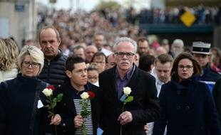 Jonathann Daval aux côtés des parents d'Alexia, le 5 novembre dernier