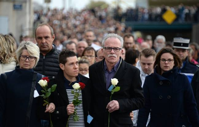 Jonathann Daval aux côtés des parents d'Alexi, le 5 novembre dernier