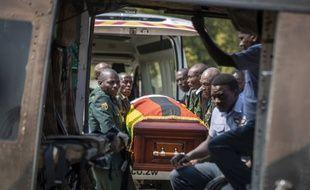 Le cercueil de l'ancien président Robert Mugabe.