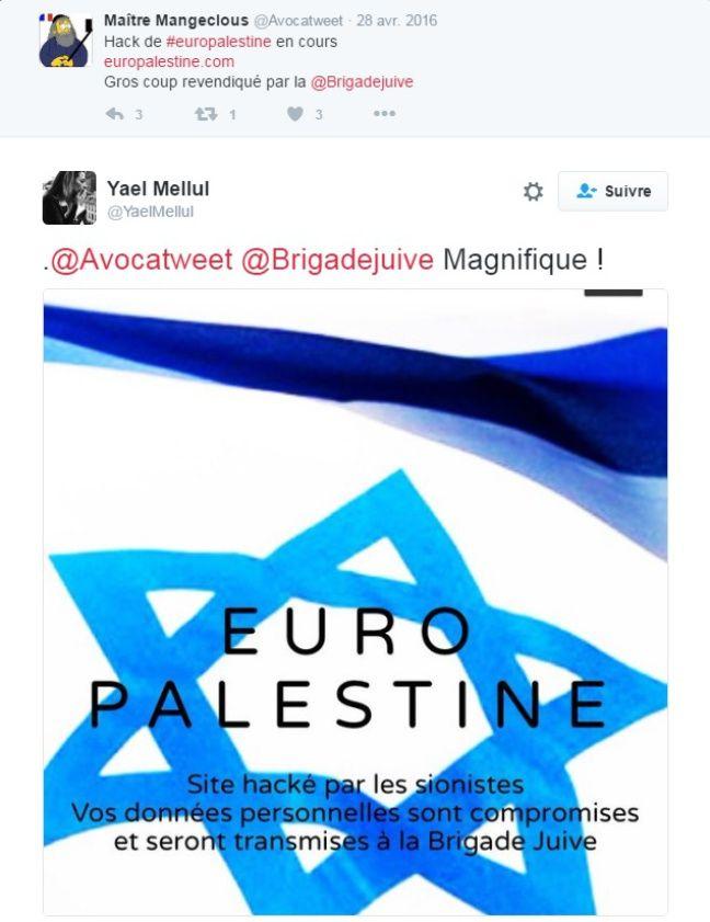 Tweet de Yael Mellul en soutien à la Brigade juive.