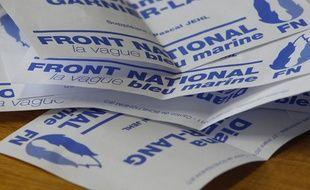 Un bulletin de vote du Front national, dans la ville de Schiltigheim (Alsace), lors du second tour des élections cantonales le 27 mars 2011.