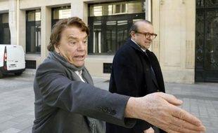 Bernard Tapie et son avocat Hervé Temime, le 12 mars 2015 à Paris