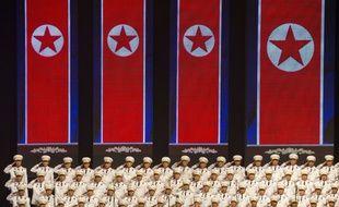 La chorale militaire nord-coréenne lors des célébrations des 70 ans du régime, le 8 septembre 2018.