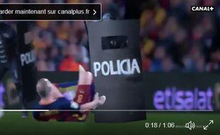 La vidéo de Canal + imagine un Real-Barça avec la police dans le camp madrilène.