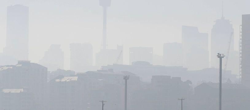 Sydney dans le brouillard à cause des incendies qui dévastent la côte est de l'Australie, le 19 novembre 2019.
