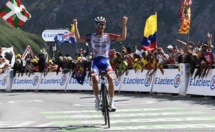 Victoire de Thibaut Pinot en haut du Tourmalet lors de la 14e étape du Tour de France, le 20 juillet 2019.