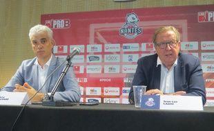Thierry Brochard, nouveau président (à gauche), à côté de son prédécesseur Jean-Luc Cadio.