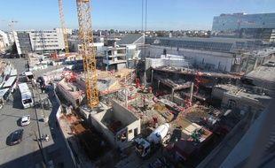 Vue du chantier de la gare de Rennes, le 29 mai 2016.
