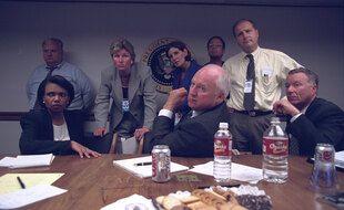 Le vice-président américain Dick Cheney et la secrétaire d'Etat Condoleezza Rice dans le bunker de la Maison Blanche, le 11 septembre 2001.