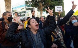 Lors de la manifestation du 20 janvier, à Tunis.