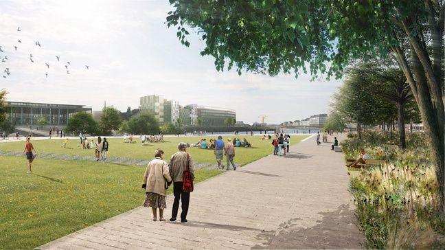 La grande pelouse de la future place de la Petite-Hollande.
