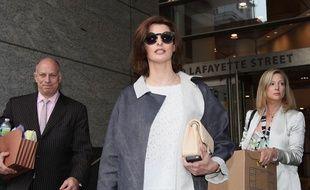 Le mannequin Linda Evangelista à la sortie d'un tribunal de New York, le 4 mai 2012.