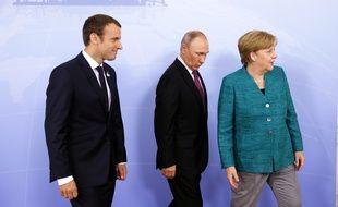 Macron, Poutine et Merkel au G20 de Hambourg le 8 juillet 2017.