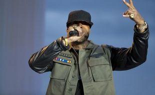 Le rappeur Booba dans «Le grand journal» à Cannes en 2014.