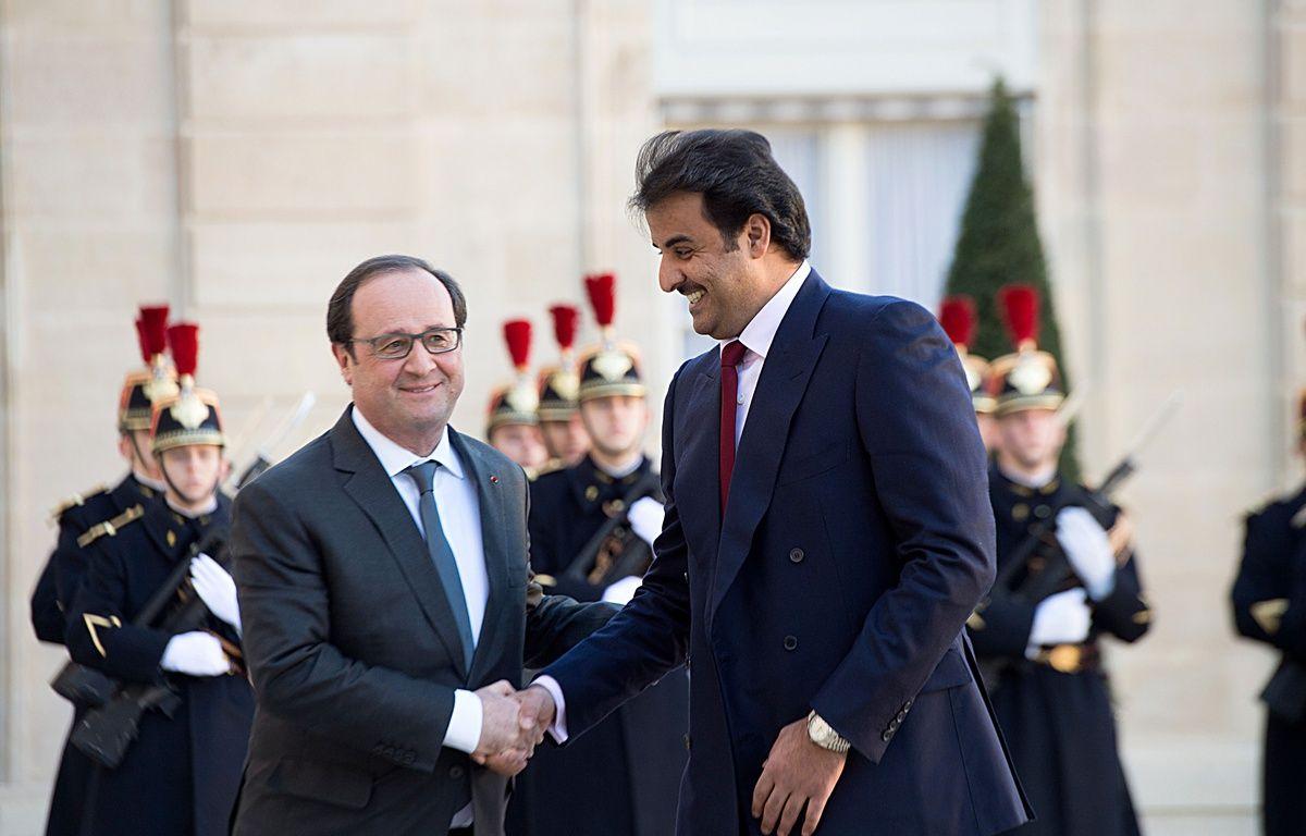 François Hollande rencontre l'émir du Qatar Sheikh Tamim ben Hamad al-Thani le 2 février 2016. – VILLARD/SIPA