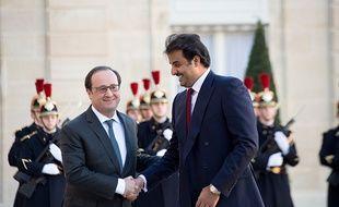 François Hollande rencontre l'émir du Qatar Sheikh Tamim ben Hamad al-Thani le 2 février 2016.