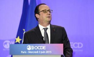 Le président de la République, François Hollande, lors d'un discours devant l'OCDE à Paris, le 3 juin 2015