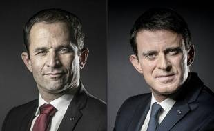 Valls et Hamon. / AFP PHOTO / JOEL SAGET