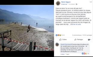 La baisse du niveau du lac d'Annecy alimente une fausse rumeur.