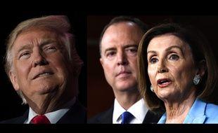 Donald Trump face aux démocrates Adam Schiff et Nancy Pelosi.