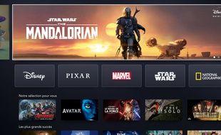 La page d'accueil de la plateforme Disney+.
